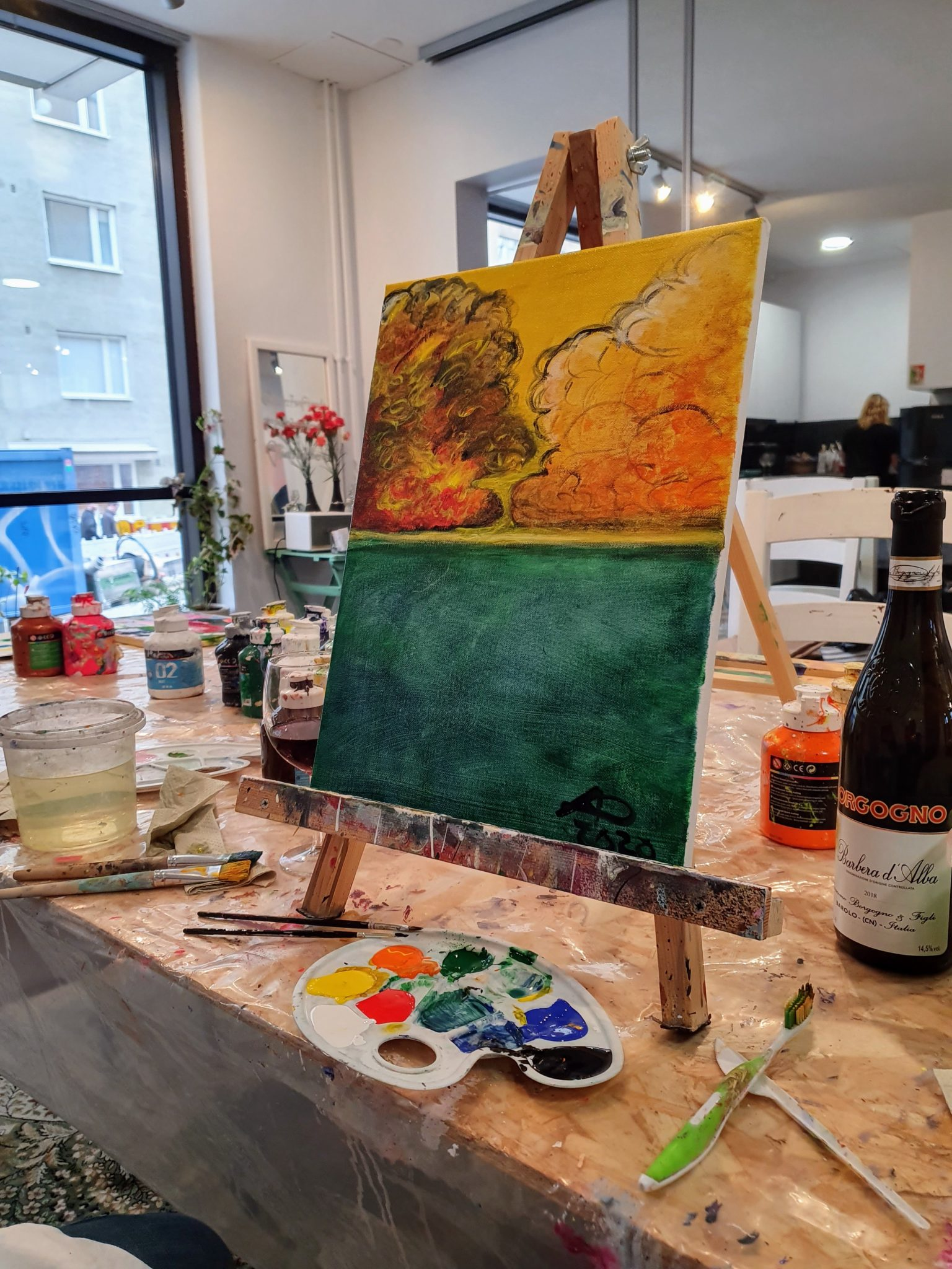 Paints and wine